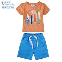 100% Cotton Three Different Color Leisure Beach Top+Short 2 PCS Baby Boy Suit