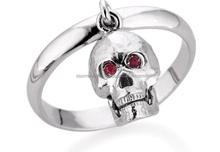 Skull Ring 925 Silver and precious stones