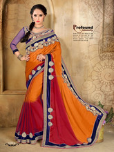 Orange and Red color with Blue Velvet Silver Tissue border and embroidery work Blossom Designer sarees