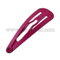 Iron Snap Hair Clip Findings, Spray Paint, DIY Material for Children's Day Kids Hair Clips, Fuchsia, about 13.5mm wide PJH007-2