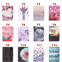 Painting Cover Silicon PU Leather Case for iPad Air/Mini Flip Book Style Stand with Card Holder for Samsung Tab Wallet