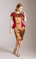 A-NGUN Pa Thai, Red Chompoonut Thai Silk Dress. Queen of all fibers are present in the world today.