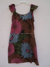 Cotton floral design pattern printed knitted length girls wear dress / Fashionable printed dress