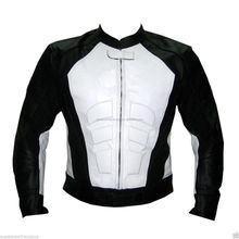 Black And White Certified Ce Armour Motorcycle/Motorbike Biker Protective Premium Quality Cow Grain Leather Jacket
