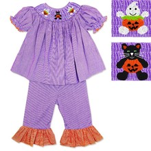 Pumpkin cat and pumpkin Boo girl hand smocked set DR 1977