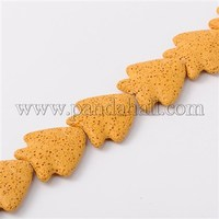 """Tropical Fish Synthetic Lava Beads Strands, Dyed, Yellow, 35x32x8mm, Hole: 1mm; about 12pcs/strand, 15.7"""""""