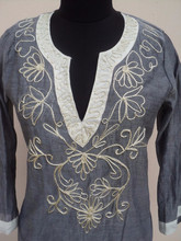 Embroidery Printed Chambray Fabric Tunic Blouses & Top's / Most Beautiful Embroidery Design for girls