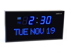 Ivation Big Oversized Digital Blue LED Calendar Clock with Day and Date - Shelf or Wall Mount