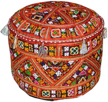 Bohemian Patchwork Pouf Ottoman in Black Vintage Indian pouffe Foot Stool bean bag HANDMADE Ethnic Pouffe Bean Bag Cover floor