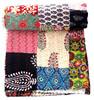 RTHKG-19 Indian Bengali Designer Patchwork Print Cotton Fabric Kantha Gudari BedspreadTraditional Manufacturer Wholesaler Throw