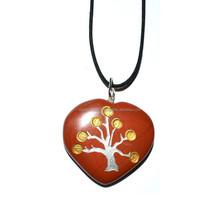 Red Jasper Heart Tree Carved Pendants - Heart Tree Pendant