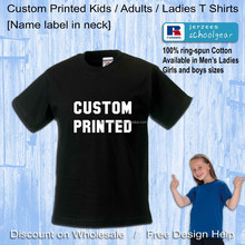 cheap custom kids boys girls school black PE tshirts