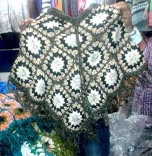Woolen Blue Poncho Wool Blend Striped Pattern Winter Women Wear Sweater