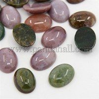 Oval Gemstone Cabochons Mix, Assorted Colors, Indian Agate, about 12mm wide, 16mm long, 5mm thick