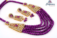 DARK PURPLE COLOR PEARL NECKLACE SET FOR GIRLS-WHOLESALE IMITATION PEARL JEWELRY