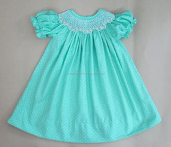 Mint dots geometric smocked dress 2016