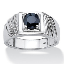 Round Midnight Blue Genuine Sapphire Sterling Silver Classic Ring
