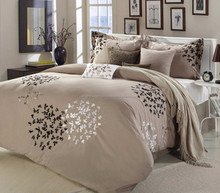 hotel bed linen,egyptian cotton sheet sets,peace sign bedding/Filigree Taupe 8-Piece Comforter Set / bed sheet / duvet cover