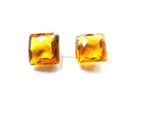 Dark Citrine Color Glass 12x12mm Square Checker Board Cut Loose Gemstone