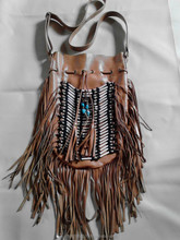 Leather Bag with Native American style (round)