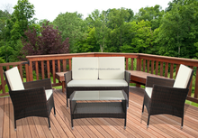 Rattan Effect Furniture with Back Cushions