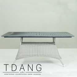 Pasadena Outdoor Wicker Dining Table with Wooden Top