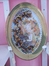 Thai Benjarong Porcelain Pottery Plate and Handpainted Gold Dish and Hand Painted Art Dish with Himmapan Forest Pattern