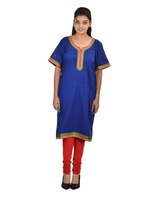 Plus Size Blue Women's Cotton Round Neck Ku rti ( DMK_00094 )