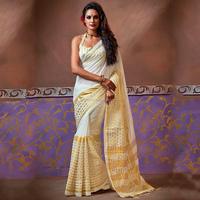 Buy Off White Handloom Cotton Silk Sarees Online