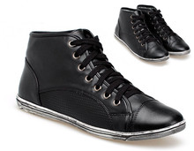 2015 NEW Trendy Black Eco Leather Jogging Trainer Running Sneakers Sport sizes Shoes 63081