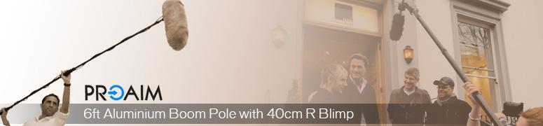 PROAIM 6ft Aluminum Boom Pole with 40cm R Microphone Blimp (BP6- BMP40R)