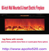 60-inch Wall Mounted & Insert Electric Fireplace with remote