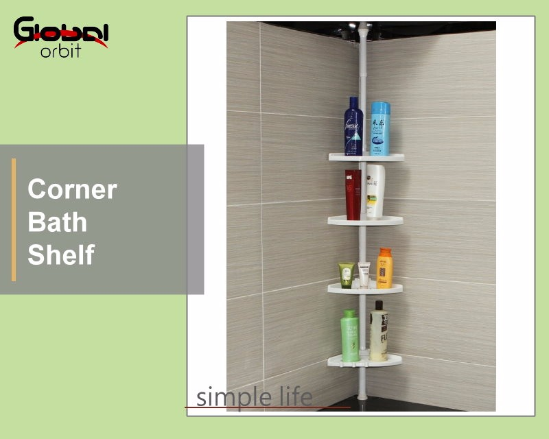 Telescopic Bathroom Corner Shower Shelf Rack 4 Tier Bath Storage ...