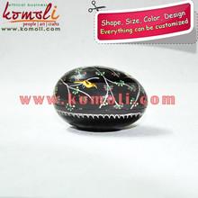 Paper Mache (Papier Mache) Hand Painted Birds on Black Floral Egg Shapped Trinket Boxes