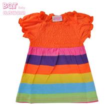 ยืดหน้าอกสีรุ้งสีส้มลายถักด้านบนสาวฝ้ายเสื้อยืด