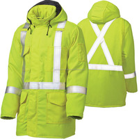 high visibility reversible winter safety jacket wholesale Reflective green safety jacket