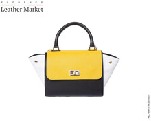 Bowler leather bag with side flaps ( Small ) handbags italian bags genuine leather florence leather fashion