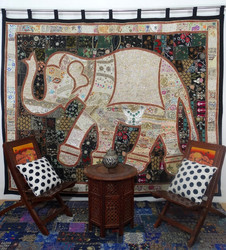 Elephant Patchwork Tapestry Embroidered Wall Hanging