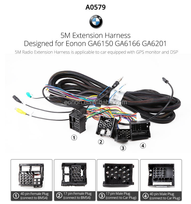 eonon a0579 17 pin 40 pin extended installation wiring harness for rh alibaba com Ford Wiring Harness Kits eonon d5150 wiring harness