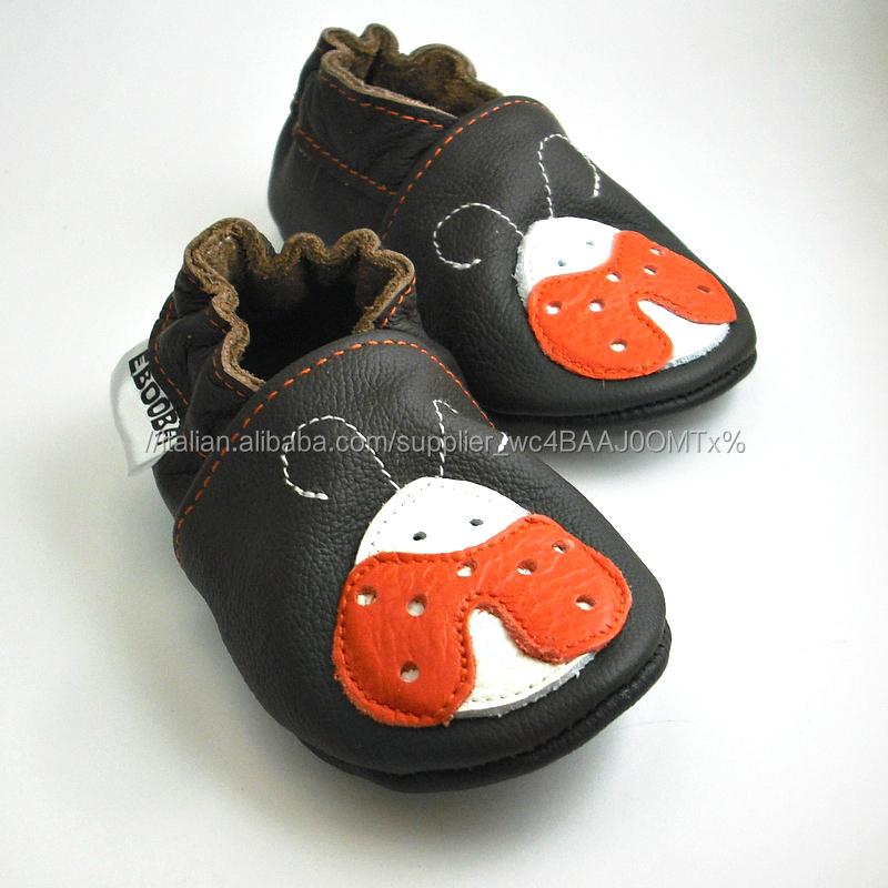 Pattini di bambino suola morbida coccinella arancione bianco marrone scuro ebooba