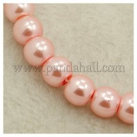 Glass Pearl Beads Strands, Pearlized, Round, LavenderBlush, Size: about 4mm in diameter, hole: 1mm, about 216pcs/str