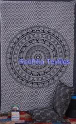 RT-751 beautiful floral mandala tapestries Indian hippy black & white Indian wall hanging cotton tapestries wholesaler Jaipur