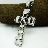Stainless Ste Cross Pendan 316L Stainless Ste Wrapped Cross original color 29.50x61mm Hole:Appr 4x5mm 10PCs/Lot Sold By Lot