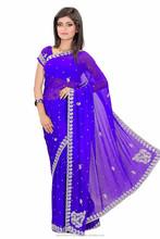 Indian Saree Blue Printed Designer Lace Work