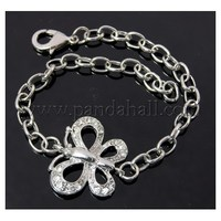 Iron Chain Bracelets Marking, with Alloy Link and Lobster Clasp, Paltinum, Clear, 210mm PALLOY-Q213-1