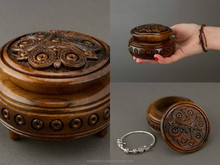 Hand carved round wooden brown jewelry box