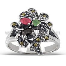 Onyx, Red Corurdum and Jade Gemstones Oxidized .925 Sterling Silver Fashion Unisex Rings