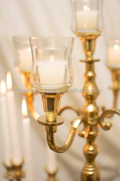 Glass hurrican gold candelabra buy