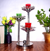 CANDLE HOLDER 3 ARMS CANDLE STAND WITH LEAF DESIGN VOTIVE