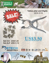Tattoo Plier 5 - 6 Space/2015 hot sales new type cattle animal tattoo pliers DETECH Industries